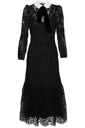 TEMPERLEY LONDON New Moon velvet and poplin-trimmed corded lace midi dress