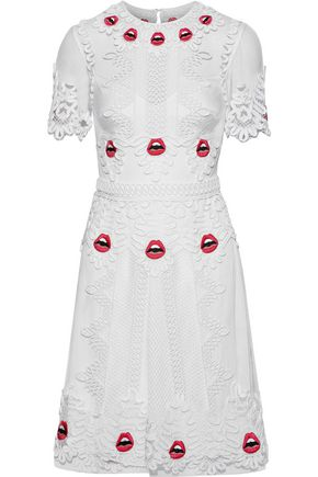 TEMPERLEY LONDON Leaf appliquéd tulle mini dress