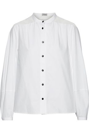 TEMPERLEY LONDON Enigma silk chiffon-paneled cotton-poplin shirt