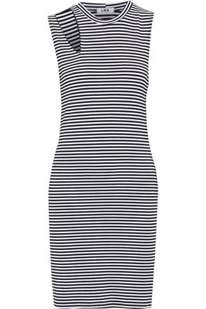 LNA Cutout striped stretch-jersey mini dress