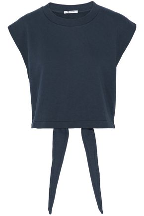 T by ALEXANDER WANG Tie-back cutout cotton-blend terry top