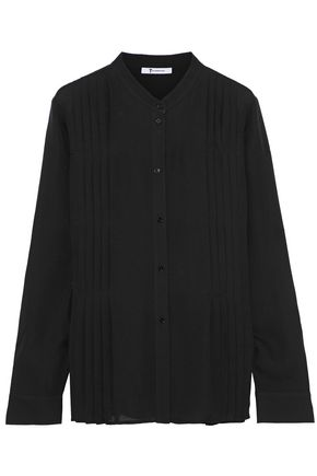 T by ALEXANDER WANG Pleated silk crepe de chine shirt