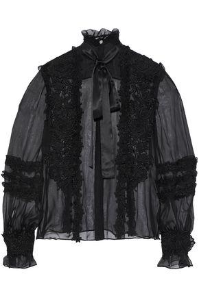 ZUHAIR MURAD Pussy-bow appliquéd silk-blend chiffon blouse