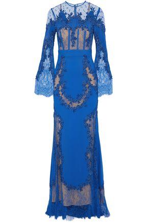 ZUHAIR MURAD Appliquéd lace-paneled silk-blend cady gown