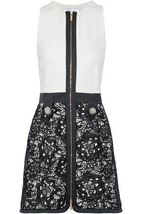 ZUHAIR MURAD Crystal-embellished guipure lace-paneled silk-blend mini dress