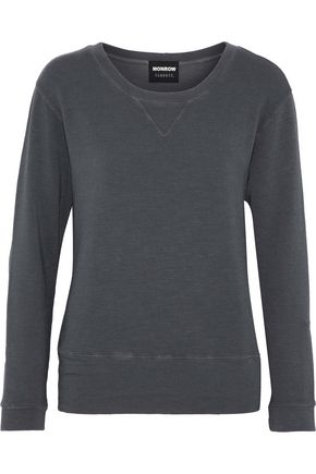 MONROW Ribbed-knit terry sweatshirt