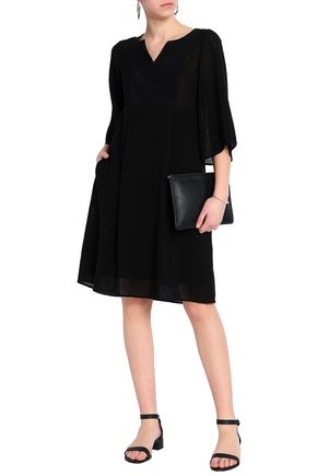CEFINN Twill-paneled voile dress