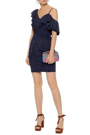 Alice Olivia Floretta Asymmetric Ruffled Suede Mini Dress