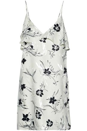 ALICE + OLIVIA Bess ruffled floral-print jacquard mini slip dress