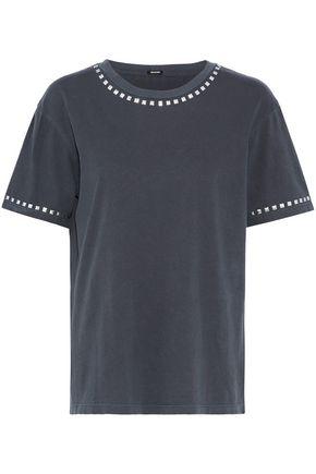 MONROW Vintage Boyfriend studded cotton T-shirt