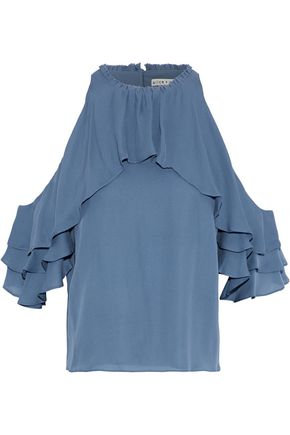 ALICE+OLIVIA Idalla cold-shoulder ruffled silk top