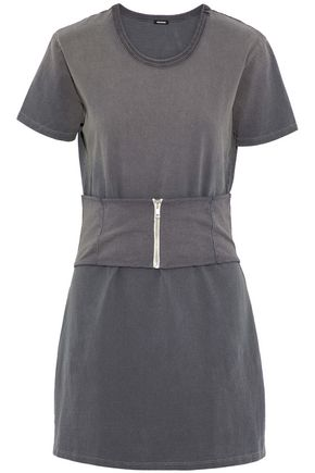 MONROW Belted cotton-jersey mini dress