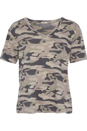MONROW Printed cotton-jersey top