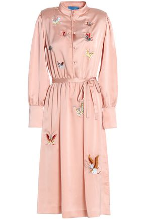 M.I.H JEANS Embroidered textured-satin shirt dress