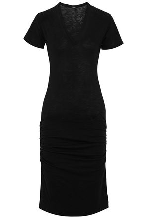 MONROW Ruched slub cotton-jersey dress