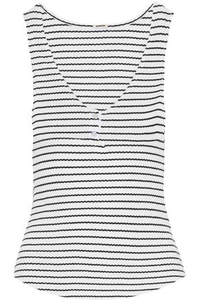 MONROW Striped ribbed cotton-blend tank