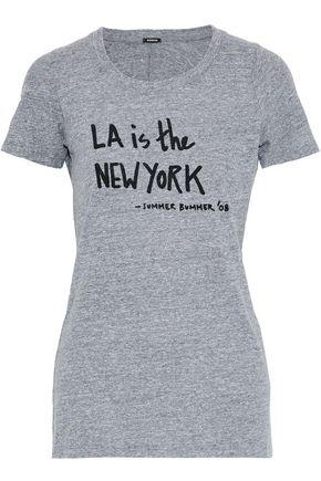 MONROW Printed mélange jersey T-shirt