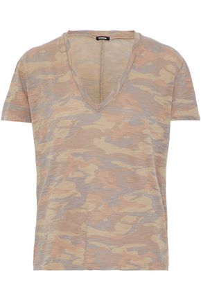 MONROW Printed slub cotton-jersey T-shirt