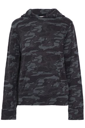 MONROW Printed jersey hooded top
