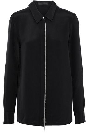 ALEXANDER WANG Chain-trimmed silk-twill top