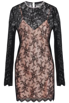 ALEXANDER WANG Embellished plissé lace mini dress