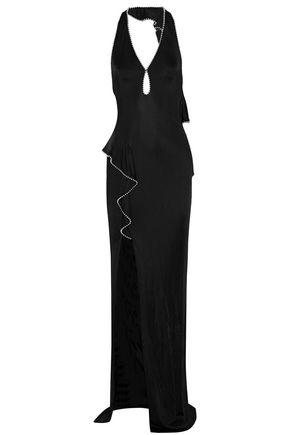 ALEXANDER WANG Open-back studded ruffle-trimmed gown