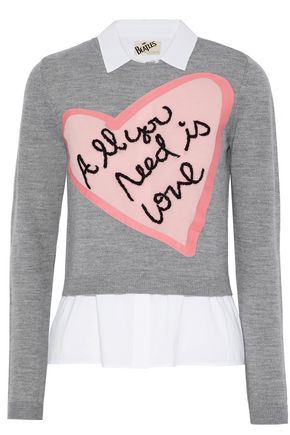 ALICE + OLIVIA Layered cotton-blend poplin and intarsia-knit top