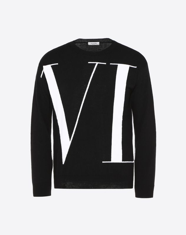 CASHMERE JUMPER WITH VLTN INTARSIA