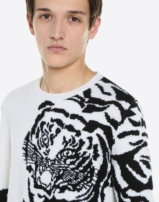 CASHMERE JUMPER WITH INTARSIA TIGER