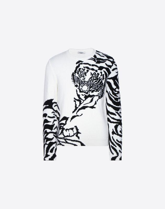 老虎嵌花羊绒针织衫