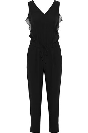 IRIS & INK Ruffled chiffon-trimmed satin-crepe jumpsuit