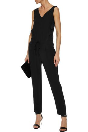 IRIS & INK Ruffled chiffon-trimmed satin-crepe jumpsuit