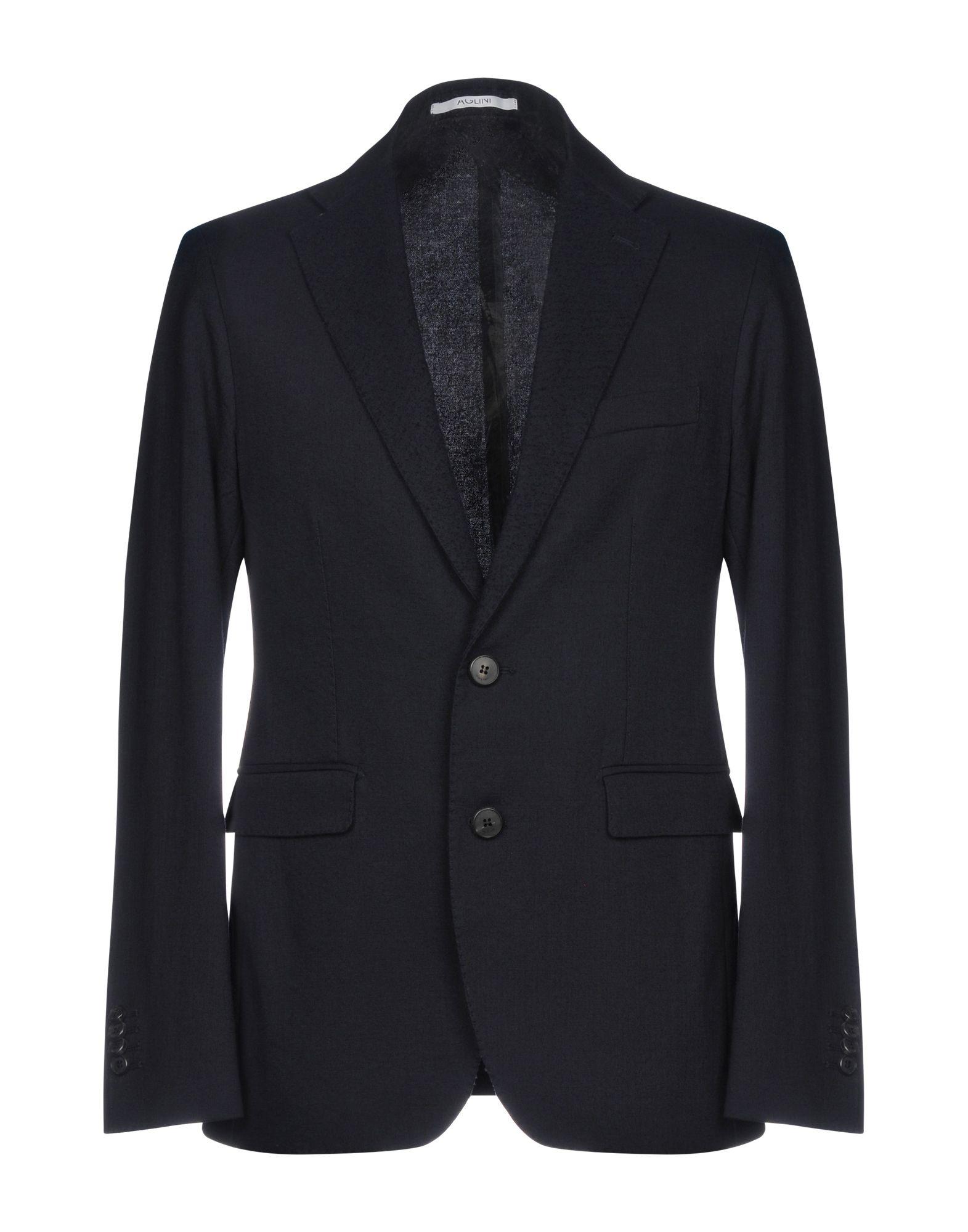 《期間限定セール中》AGLINI メンズ テーラードジャケット ダークブルー 52 コットン 35% / バージンウール 33% / レーヨン 32%