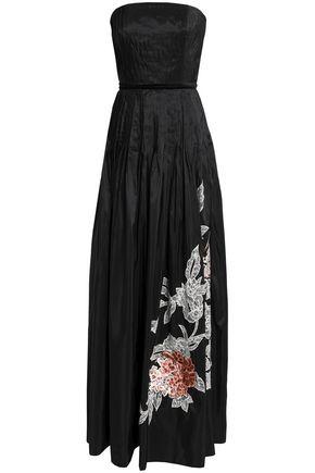 SACHIN & BABI Strapless pleated appliquéd silk-taffeta gown