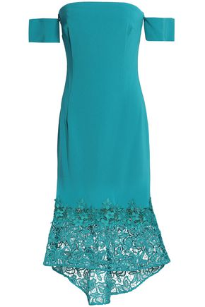 SACHIN & BABI Off-the-shoulder guipure lace-paneled crepe dress