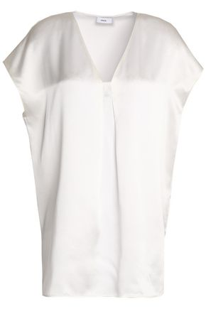 VINCE. Pleated silk-satin top