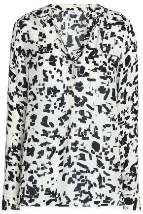 VINCE. Printed silk crepe de chine blouse