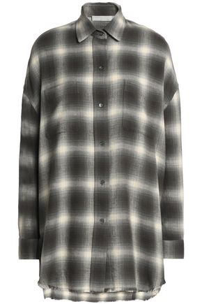 VINCE. Checked cotton and wool-blend flannel shirt