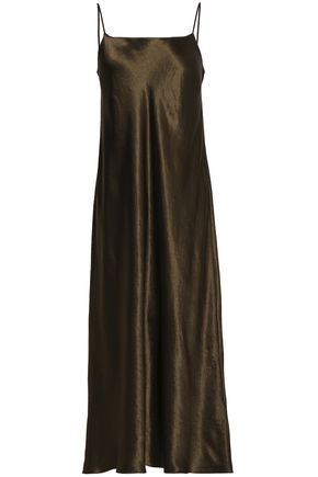 VINCE. Fluted satin midi slip dress