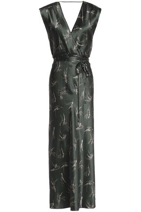VINCE. Wrap-effect printed silk-satin midi dress