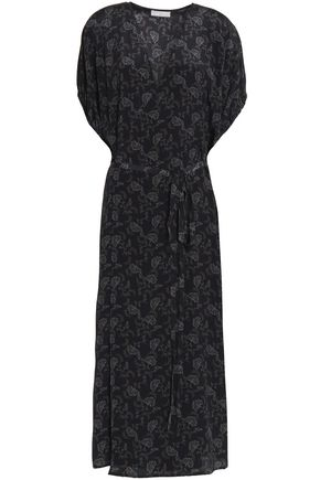 VINCE. Printed silk crepe de chine midi wrap dress