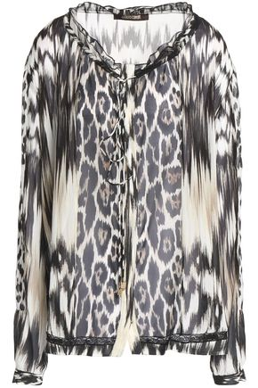 ROBERTO CAVALLI Ruffle-trimmed printed silk-chiffon blouse