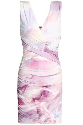 ROBERTO CAVALLI Ruched printed crepe de chine mini dress