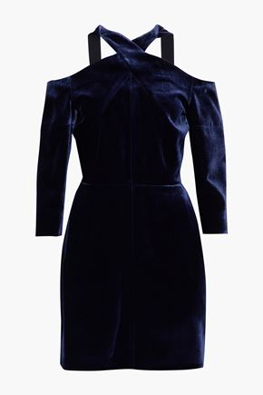 ROLAND MOURET Harlington cold-shoulder velvet mini dress