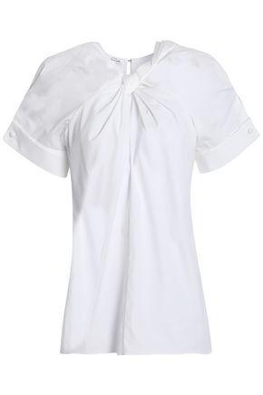 OSCAR DE LA RENTA Twist-front cotton-blend poplin top