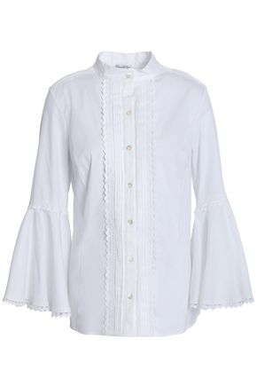 OSCAR DE LA RENTA Pintucked cotton-blend poplin shirt