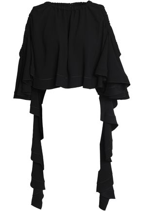 ELLERY Cold-shoulder ruffled crepe-satin top