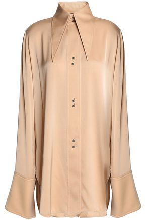 ELLERY Satin-paneled stretch-silk shirt