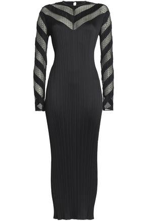 ALEXANDER WANG Swiss-dot tulle-paneled plissé satin maxi dress
