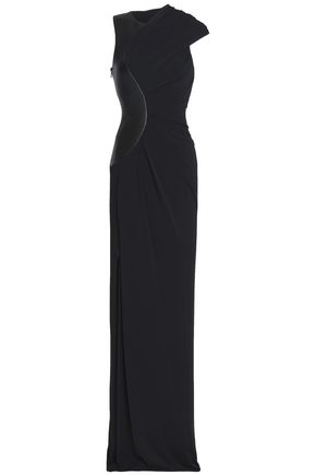 ALEXANDER WANG Leather-paneled draped jersey gown